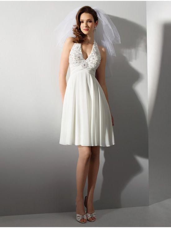 Halter Strapped Short Wedding Dress With V Neckline