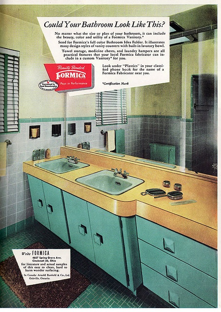 1952 Formica Bathroom    This turquoise, yellow, gray, and chartreuse bathroom was published inAmerican Home.