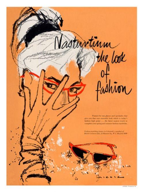 Nasturtium gloves and glasses ad, 1950s