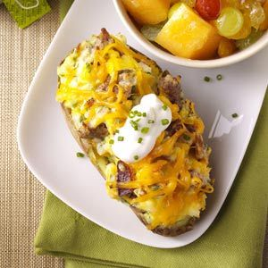 Twice-Baked Breakfast Potatoes Recipe from Taste of Home :: shared by William Brock of Amelia, Ohio :: pinterest.com/...