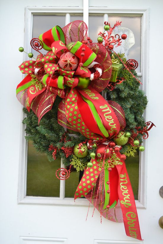 . I love the way the ribbon in swaged across this Merry Christmas Wreath