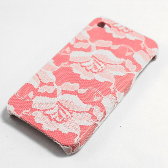 White Lace over Pink iPhone 4 Case