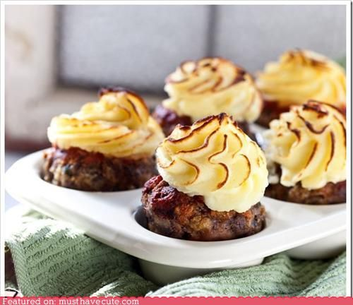 Meatloaf Cupcakes...I like that they cook faster than when meatloaf is in loaves.