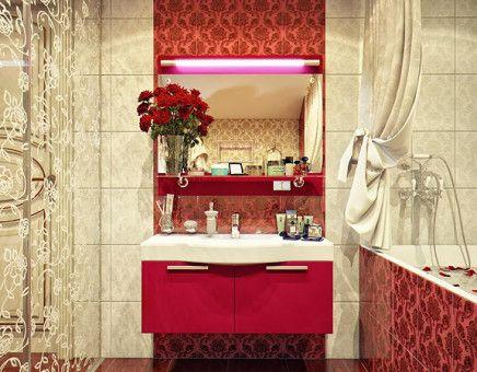 Vintage pattern modern bathroom design