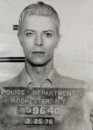 David Bowie mugshot. Bowie was arrested in Rochester, NY in 1976 on a felony pot possession charge. He was only in jail for a few hours, and police didn't snap his mugshot until three days after he was arrested when he returned to City Court for arraignment. 9 Old School Celebrity Mugshots - Instant Checkmate blog.instantcheck...