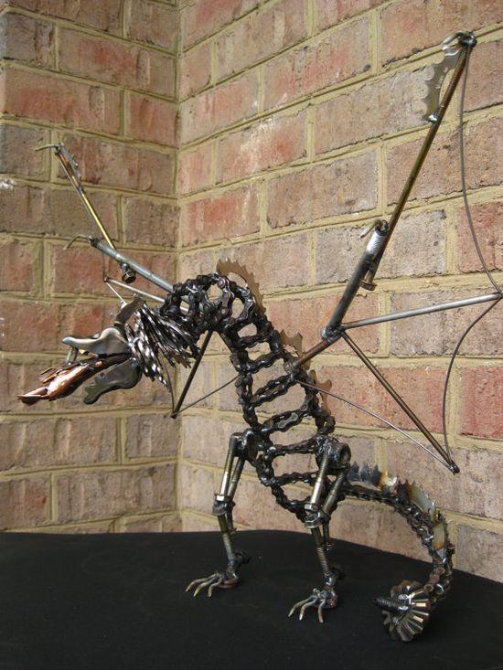 Dragon Recycled Metal Art Sculpture