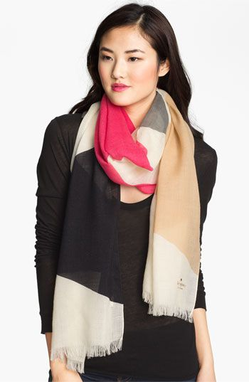 kate spade new york 'abstract bow' wool scarf