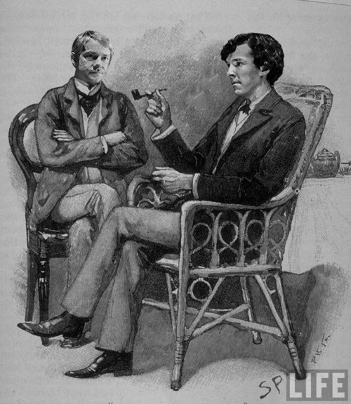 Martin Freeman's John Watson and Benedict Cumberbatch's Sherlock Holmes in the style of the original Sidney Paget illustrations.