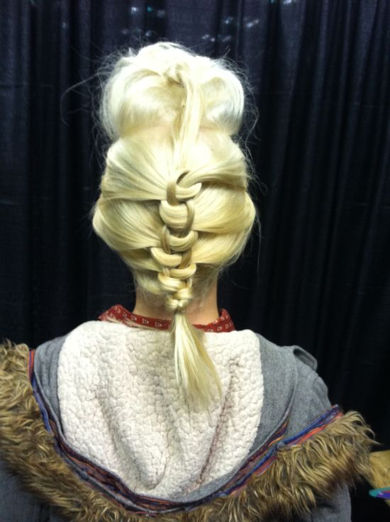 pompadour and knotted french braid