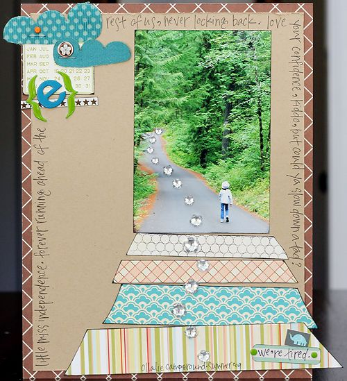 Gillian Nelson's awesome layout (one of many) on the Studio Calico blog... LOVE how she continued the road with the patterned paper strips. So creative!