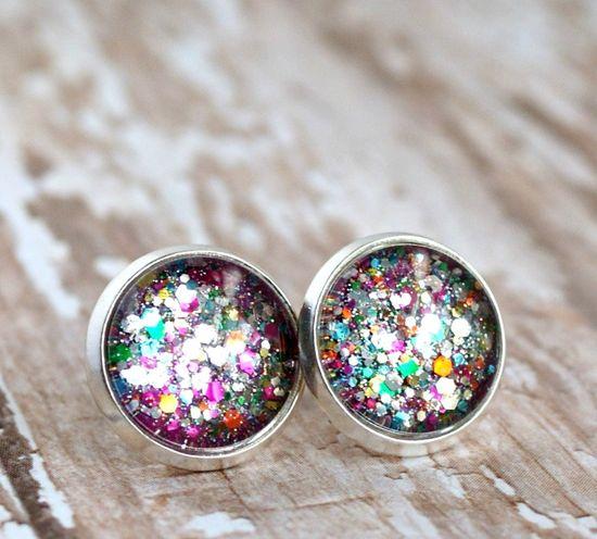 firecracker silver plated post earrings. $8.00, via Etsy.