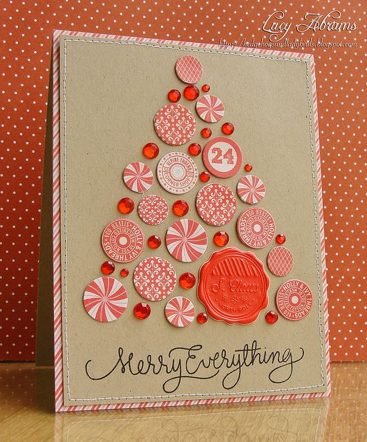 Christmas card ... kraft and red ... tree of circles and jewels ... fun and sparkles!!!