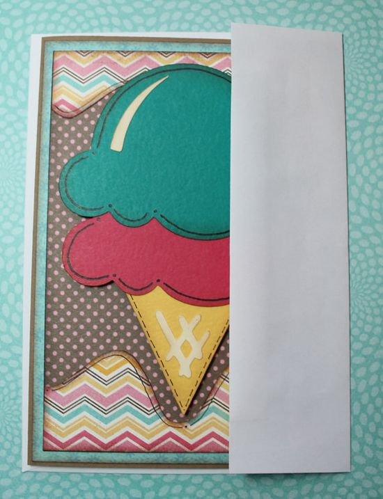 Handmade Ice Cream Cone Greeting Card by OhScrapPaperScissors, $6.00