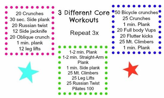 3 core workouts