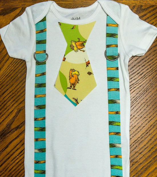 Dr. Seuss the Lorax Onesie with Suspenders Version 2 baby boy gift by rebasheba, $18.00