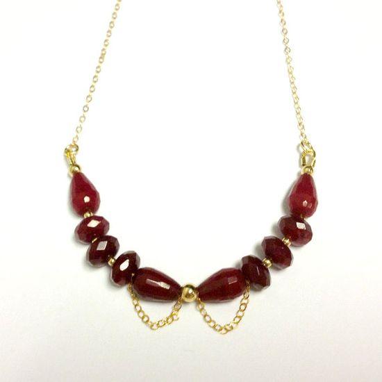 Red Ruby Quartz Necklace Yellow Gold Jewelry by jewelrybycarmal, $48.00