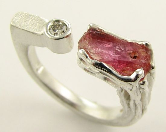 Raw Padparadscha sapphire & diamond ring