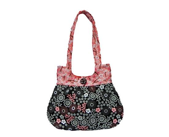 Pink and Black Sweet Pea Tote Purse Handbag Summer by craftcrazy4u, $35.00