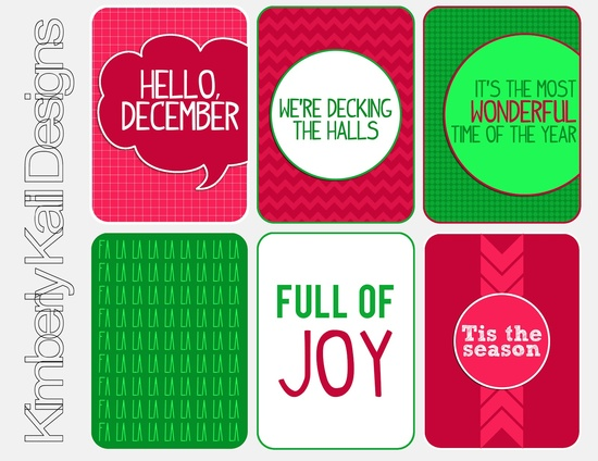 Printable journaling cards for Christmas