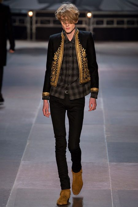 Saint Laurent Fall 2013 Menswear #gold #embroidery #detail