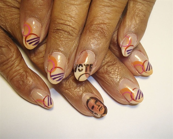 obama vote nails - Nail Art Gallery by NAILS Magazine