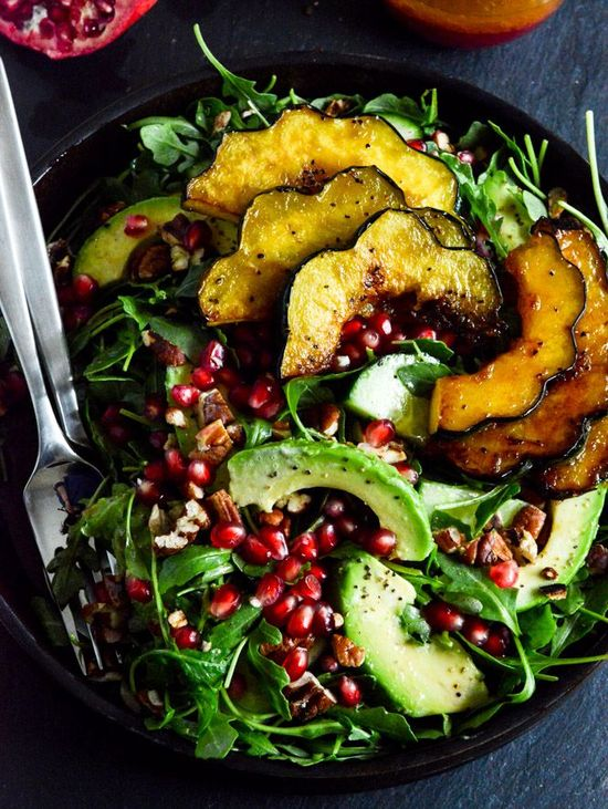 autumn arugula salad with caramelized squash + pomegranate ginger vinaigrette