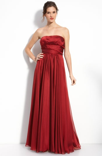 ML Monique Lhuillier Bridesmaids Strapless Chiffon Gown (Nordstrom Exclusive) available at #Nordstrom