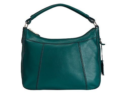 Blue leather handbag.