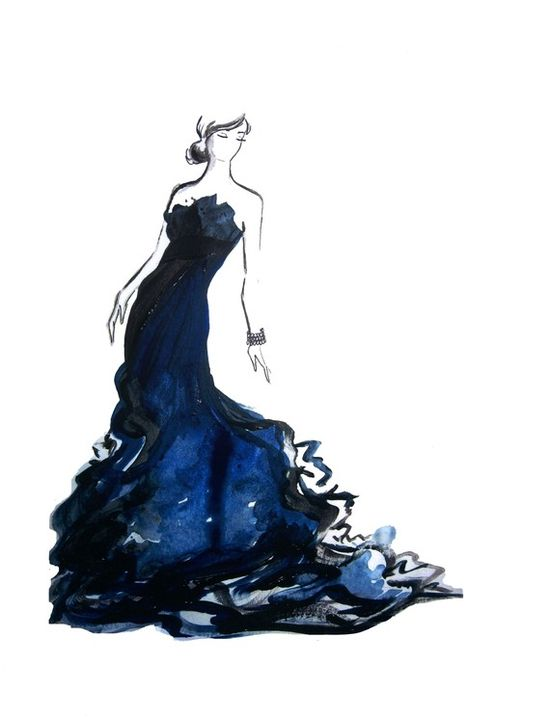 One of my older fashion illustrations, Black and Blue. Created this inspired by something I think Penelope Cruz would wear to the Oscars. #watercolor #fashion #illustration