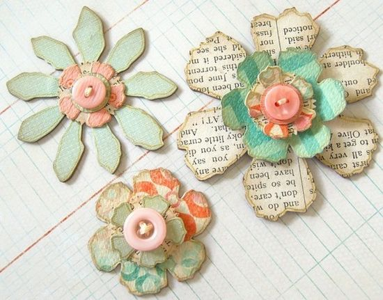 Layered chipboard flowers by ScrappingArt on Etsy