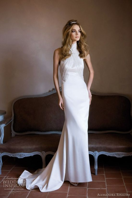 high neck wedding dress 2012