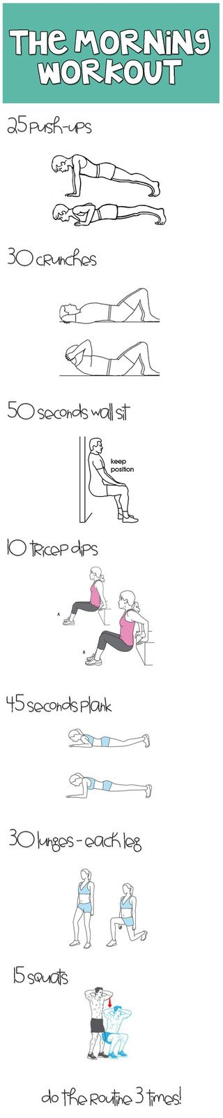 3 sets of 30 lunges - each leg!  Just that alone is a workout.  I'm going to start with 3 lunges and see if I can work up to 30 :)