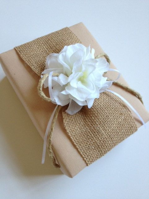 Rustic Burlap Wedding Photo Album   White by CoutureLife on Etsy, $40.99