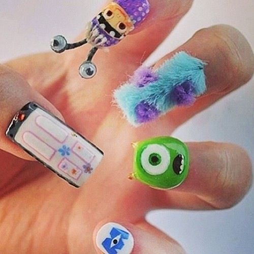 Monsters INC. Monsters university creative nail art
