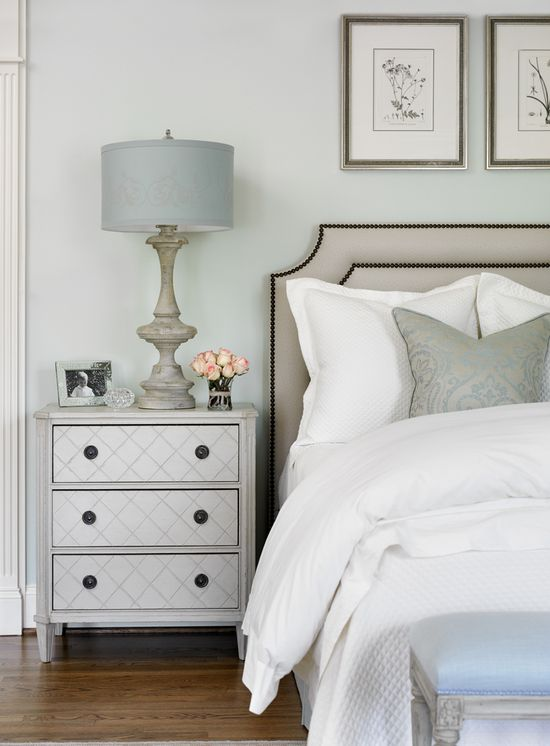 Master Bedroom, Custom Headboard covered in Faux Ostrich, paint is Pale Powder by Farrow & Ball, linens by Sferra and Peacock Ally