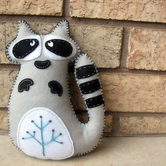 Raccoon Stuffed Animal Hand Sewing