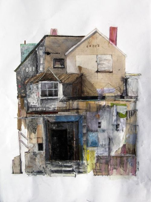 """darksilenceinsuburbia:    Seth Clark. Fort. Collage, oil, colored pencil, pastel, charcoal, graphite on paper, 22"""" x 30""""."""