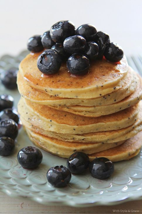 Lemon Poppy Seed Pancakes with Sugared Blueberries