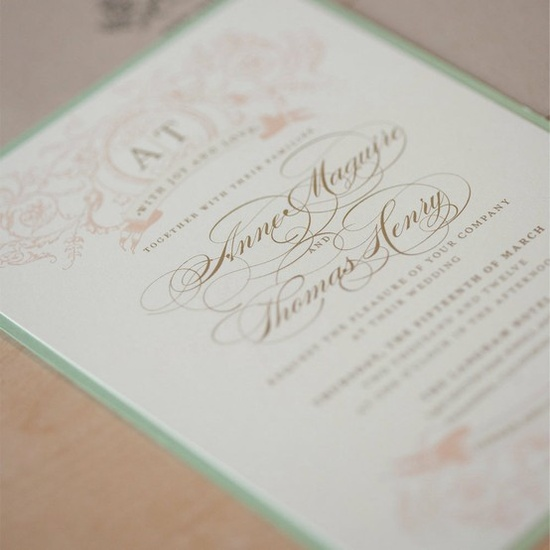 Vintage Wedding Invitation. The central text with their names is a bit too elaborate for us but this is on the right track. I like the mat border here but would need a different color I think.