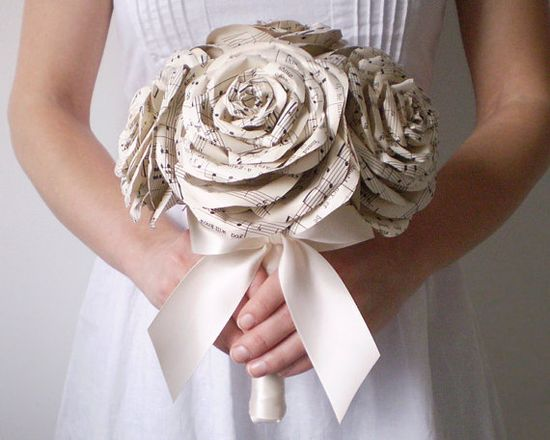 Sheet Music Rose Bridal Bouquet - Ivory Paper Wedding Flowers made from Vintage Song Books