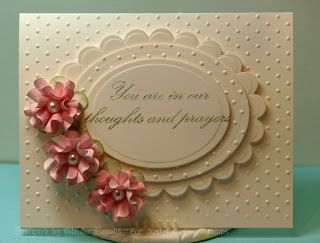 Thoughts and Prayers stamp set, Swiss Dot embossing folder, and handmade flowers