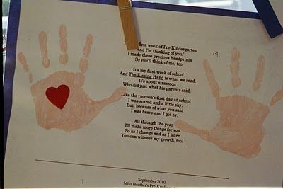 Miss Heather's Pre-K: The Kissing Hand, our first day of school craft