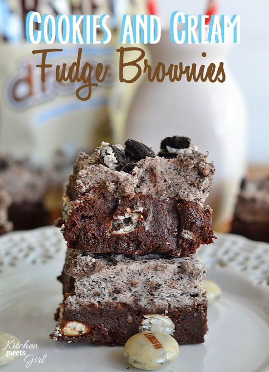 Cookies and Cream Fudge Brownies at www.kitchenmeetsg... - if you use only one base brownie recipe in your life, use this one!  #recipes #brownies