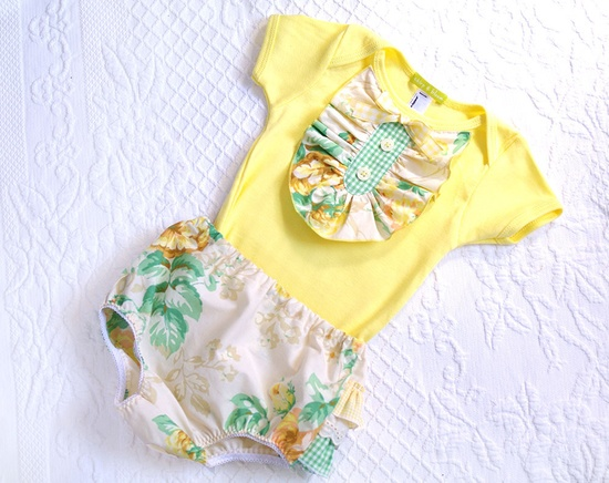Baby Girl Yellow Ruffle Onesie- Yellow Ivory Green Vintage Floral-  6m 12m 18m- Baby Shower Gift- Children Spring Fashion- Ecofriendly. $26.00, via Etsy.