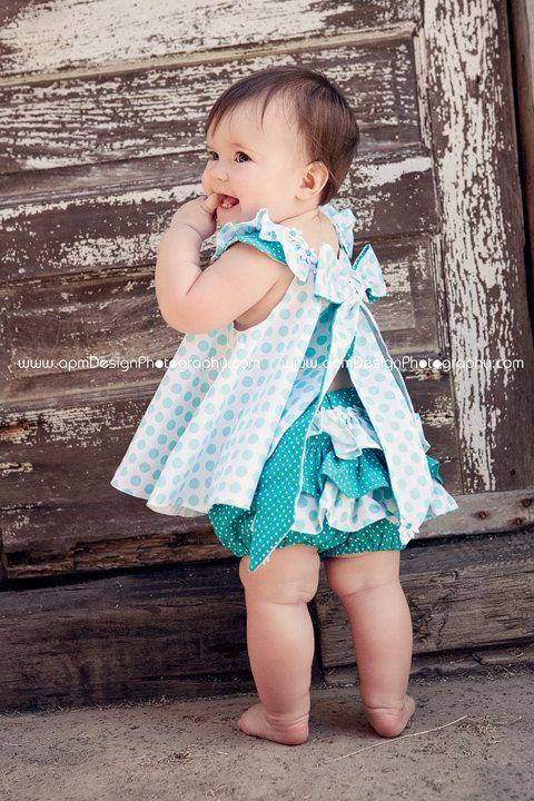 Childrens Clothing Girls Spring Twirl Dress & Ruffled Panties Newborn-18 mo Aqua ta dots 2 piece set-Girls Fashion. $50.00, via Etsy.