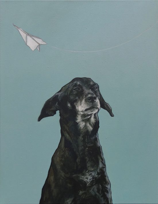 "Iet Langeveld; Oil, 2011, Painting ""Doggy"""