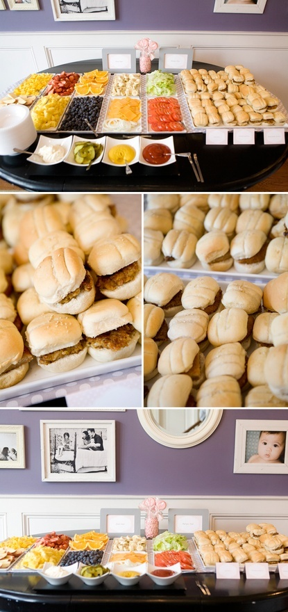 how fun would this be? hamburger bar for the children's table