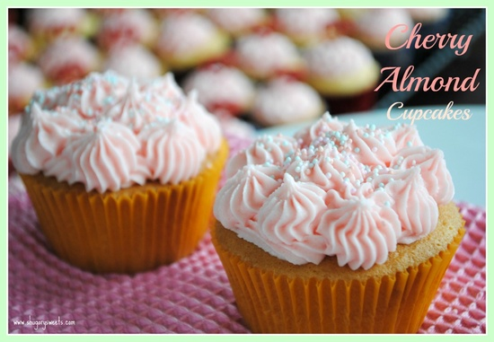 Cherry Almond Cupcakes @shugarysweets