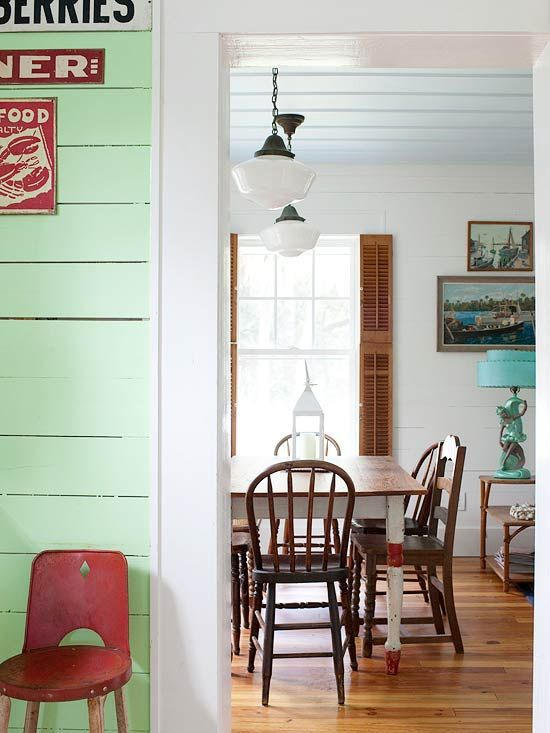 I just love so much about this space!   See more of this Colorful Beach Cottage: www.bhg.com/...