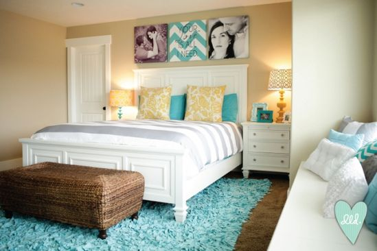 Aqua, Teal, Mustard, Grey & White Master Bedroom-- so fresh and bright!  Maybe I just need a new cute rug in there and a paint job on the walls to brighten it up!  and more art... definitely more art.